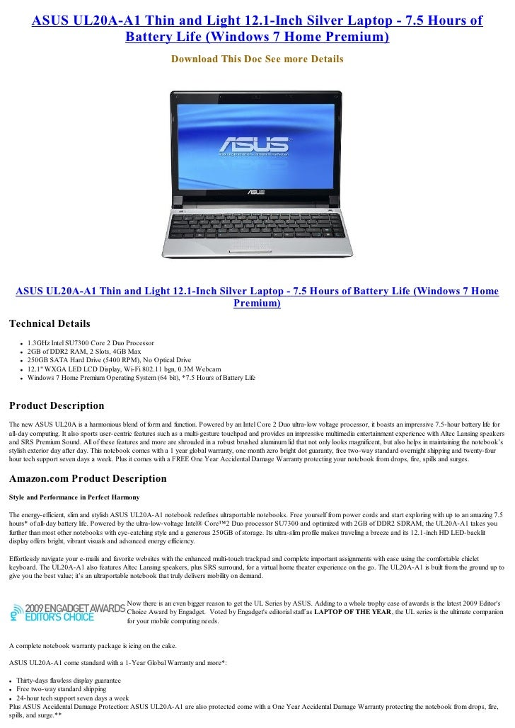 ASUS UL20A-A1 Thin and Light 12 1-Inch Silver Laptop - 7 5 Hours of B…