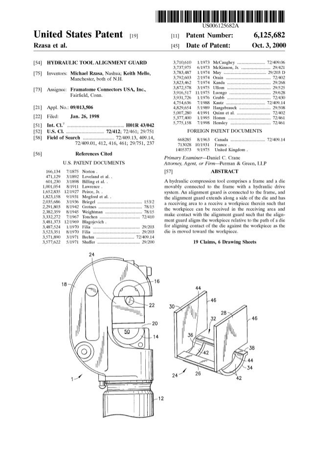 United States Patent [19J Rzasa et al. [54] HYDRAULIC TOOL ALIGNMENT GUARD [75] Inventors: Michael Rzasa, Nashua; Keith Me...