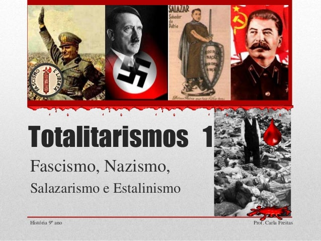 Totalitarismos 1 Fascismo, Nazismo, Salazarismo e Estalinismo História 9º ano Prof. Carla Freitas