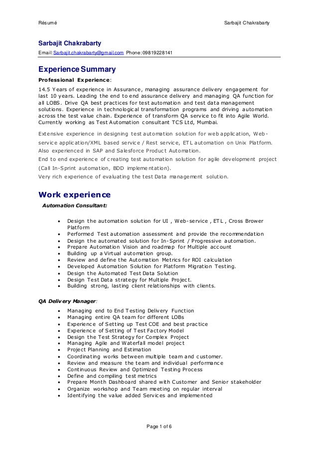 Résumé Sarbajit Chakrabarty Page 1 Of 6 Sarbajit Chakrabarty  Email:Sarbajit.chakrabarty@gmail ...