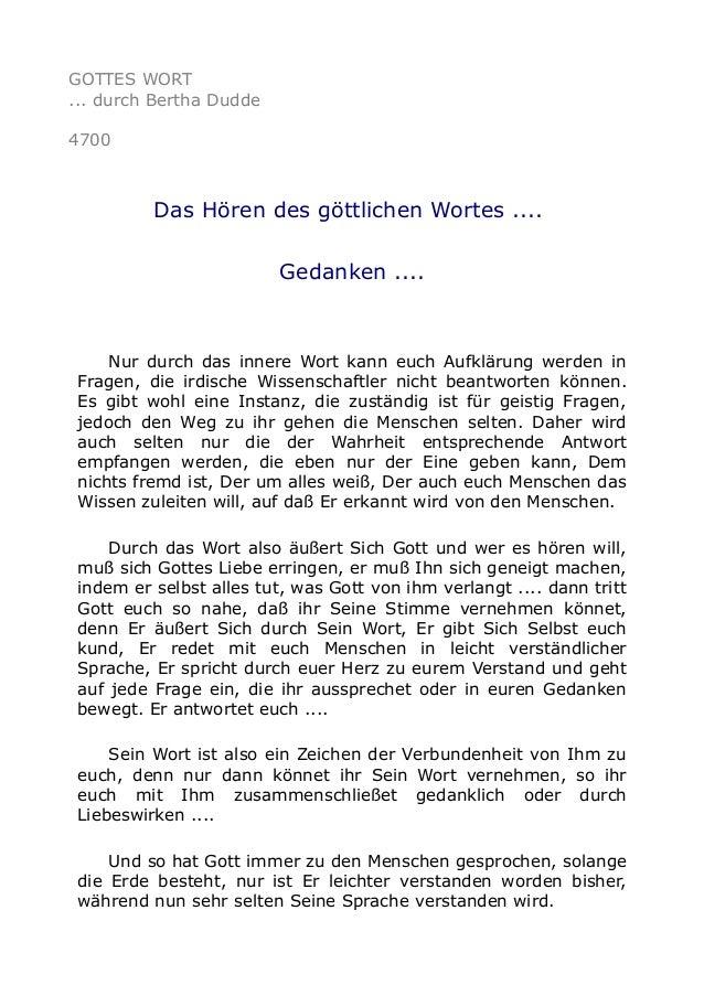 GOTTES WORT ... durch Bertha Dudde 4700 Das Hören des göttlichen Wortes .... Gedanken .... Nur durch das innere Wort kann ...