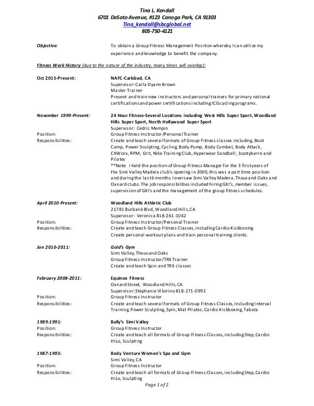tina kendall full resume 2016