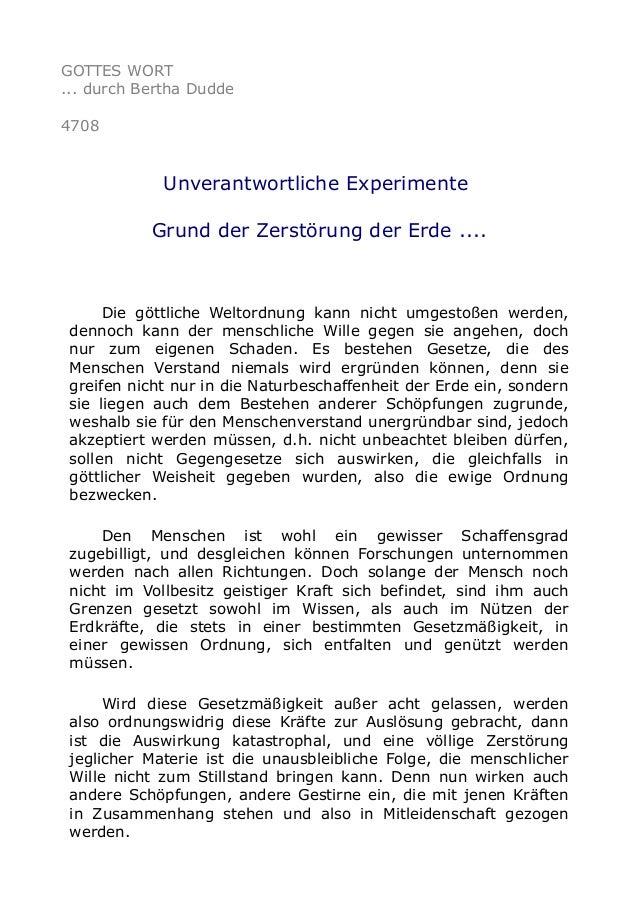 GOTTES WORT ... durch Bertha Dudde 4708 Unverantwortliche Experimente Grund der Zerstörung der Erde .... Die göttliche Wel...