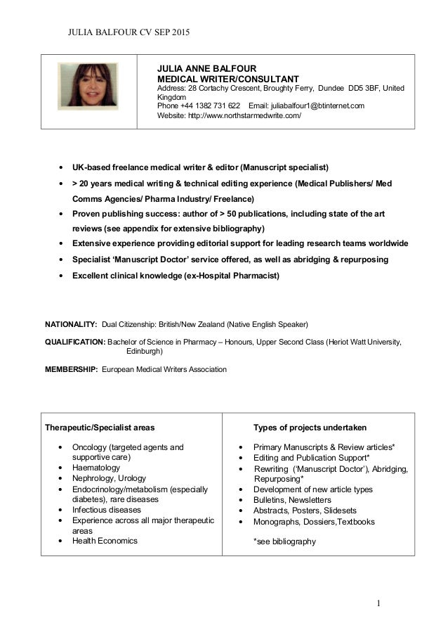medical writer resumes