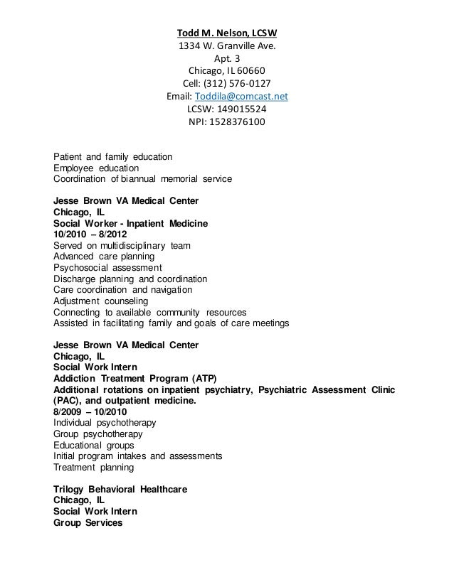Resume Todd M Nelson Lcsw