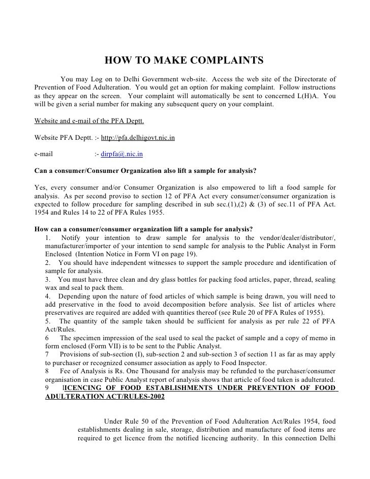 how to make complaints you may log on to delhi government web site - Sample Consumer Complaint Form