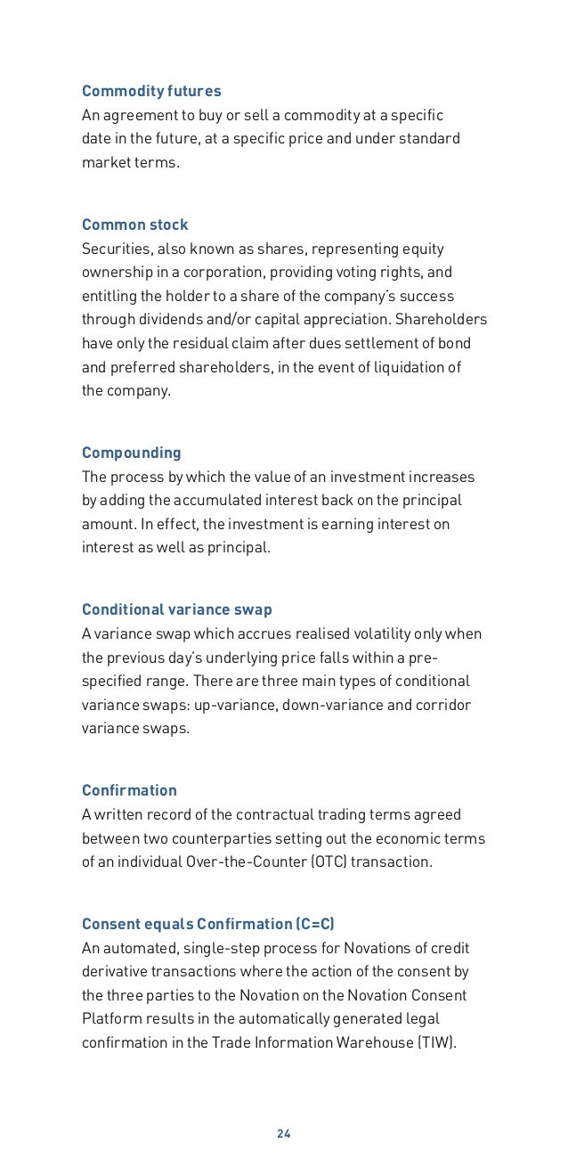 2013 Glossary of Financial Terms – Financial Agreement Between Two Parties