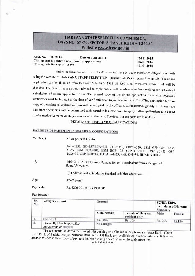 Advt. No. l0/ 2015 Date of publication Closing date for submission of online applications Closing date for deposit of fee ...