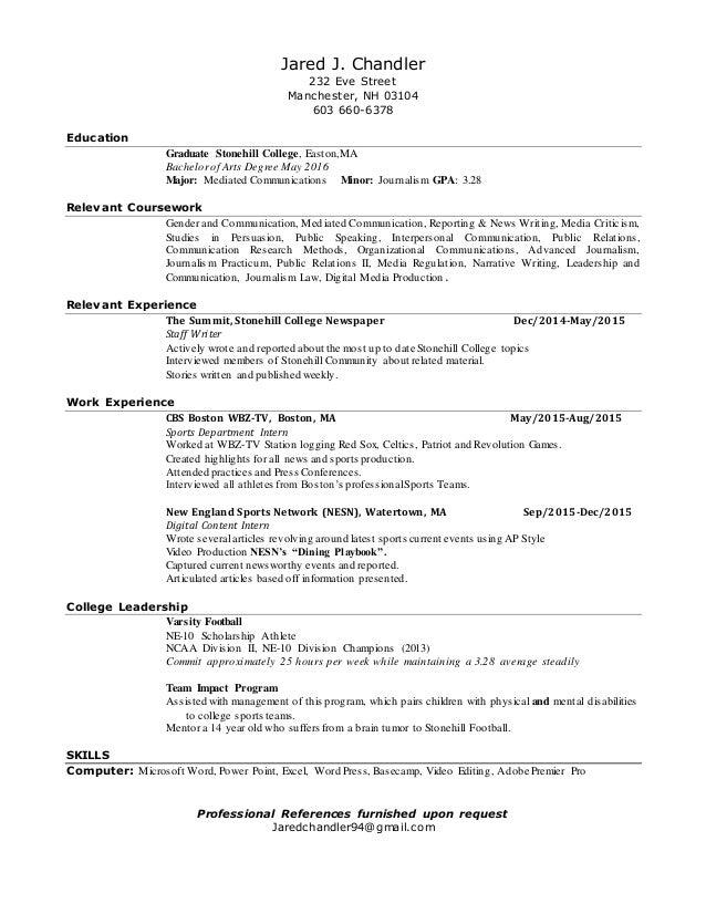 Jared Chandler's Resume