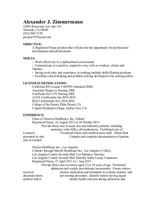 nurse resume eperienced los angeles october 2013