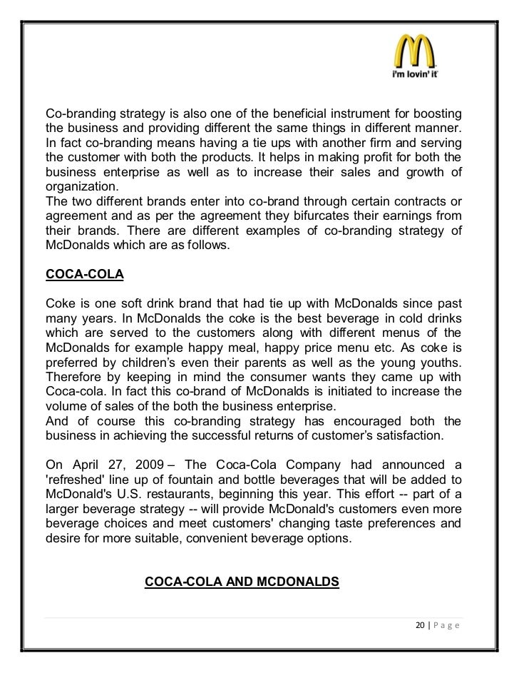 marketing essay on mcdonalds The marketing essay below has been submitted to us by a student in order to help you with your studies please ensure that you reference our essays mcdonald's corporation has established the mcdonald's corporation severance plan to provide financial assistance through severance payments.