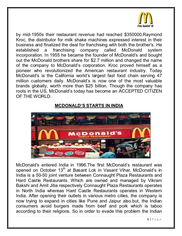 by mid-1950s their restaurant revenue had reached $350000.RaymondKroc, the distributor for milk shake machines expressed i...