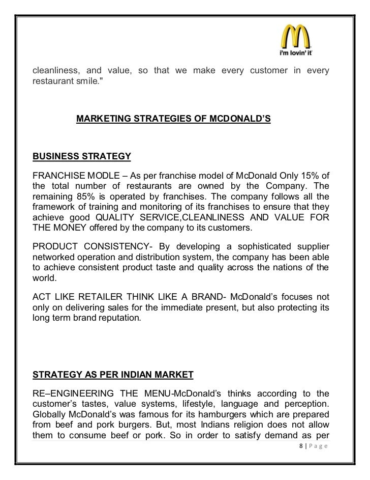 Franchise Agreement In India Mcdonalds Marketing Strategies