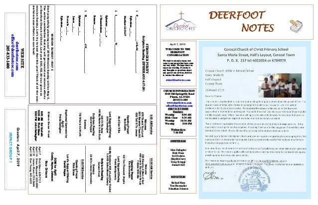 DEERFOOTDEERFOOTDEERFOOTDEERFOOT NOTESNOTESNOTESNOTES April 7, 2019 GreetersApril7,2019 IMPACTGROUP1 WELCOME TO THE DEERFO...
