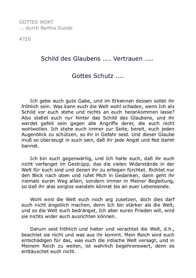 GOTTES WORT ... durch Bertha Dudde 4720 Schild des Glaubens .... Vertrauen .... Gottes Schutz .... Ich gebe euch gute Gabe...