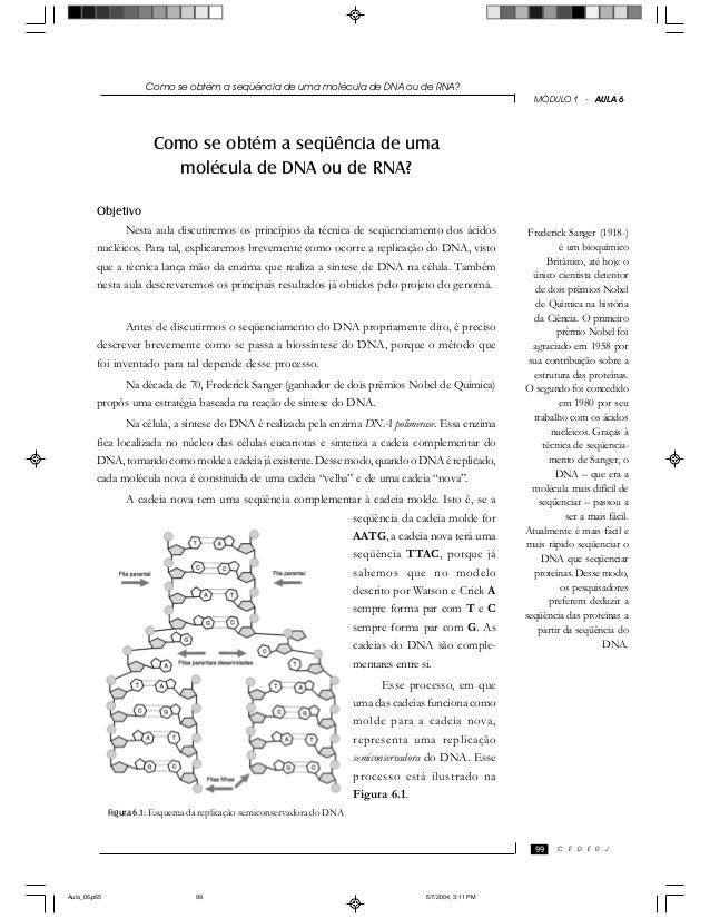 Como se obtém a seqüência de uma molécula de DNA ou de RNA? 9999 C E D E R J99 MÓDULO 1 - AULA 6 Como se obtém a seqüência...