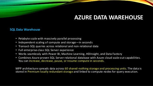AZURE DATA WAREHOUSE DWUs Data Warehouse Unit is a measure of three precise metrics that are highly correlated with data w...