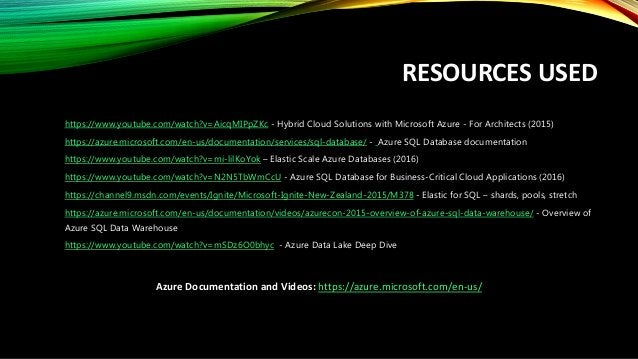 AZURE Data Related Services