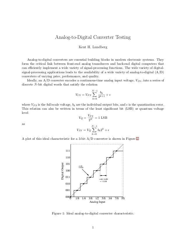 Analog-to-Digital Converter Testing Kent H. Lundberg Analog-to-digital converters are essential building blocks in modern ...
