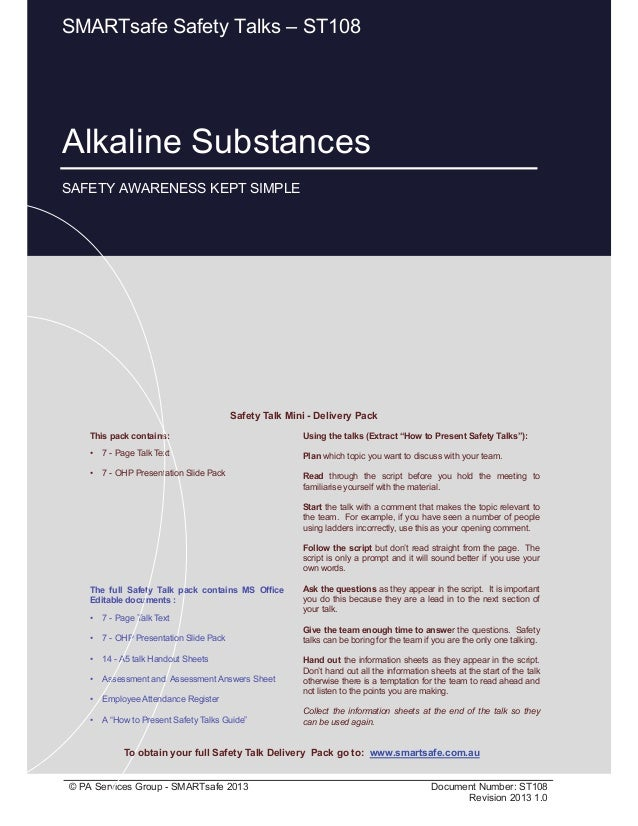 Alkaline Substances Page 1 of 10 © PA Services Group - SMARTsafe 2013 Document Number: ST108 Revision 2013 1.0 This pack c...