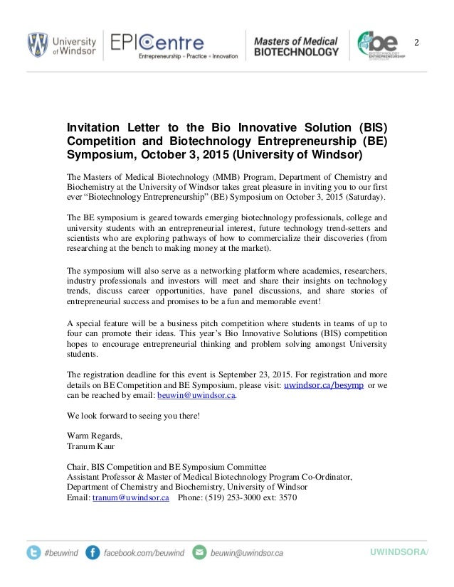 BE Symposium and BIS Invitation