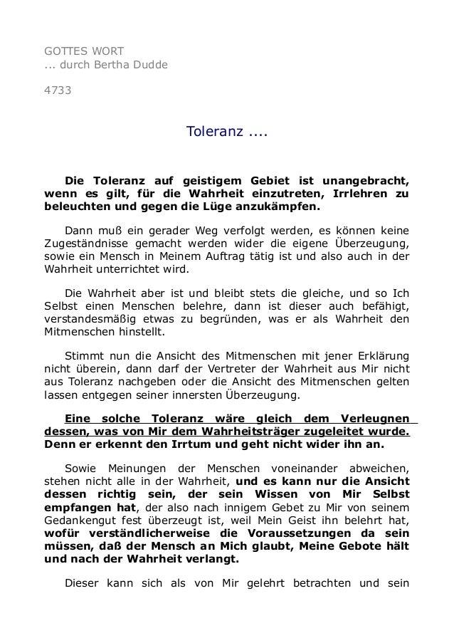 GOTTES WORT ... durch Bertha Dudde 4733 Toleranz .... Die Toleranz auf geistigem Gebiet ist unangebracht, wenn es gilt, fü...