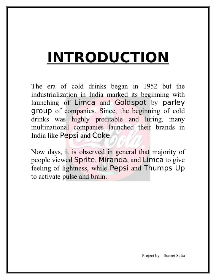 Analysis of Pepsi-cola Co. Essay Sample