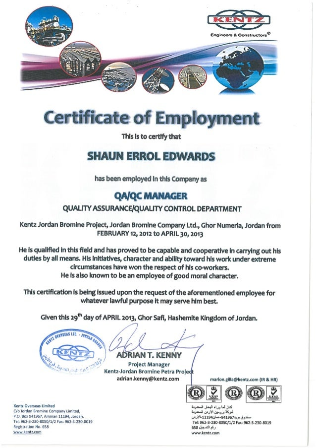 Certificate of employment kentz certificate of employment thecheapjerseys Images