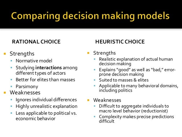 strengths and weakness of two models of decision making Two models of judicial decision making richard seamon, univ of idaho college of law introduction and summary: this presentation grows out of my work on a.