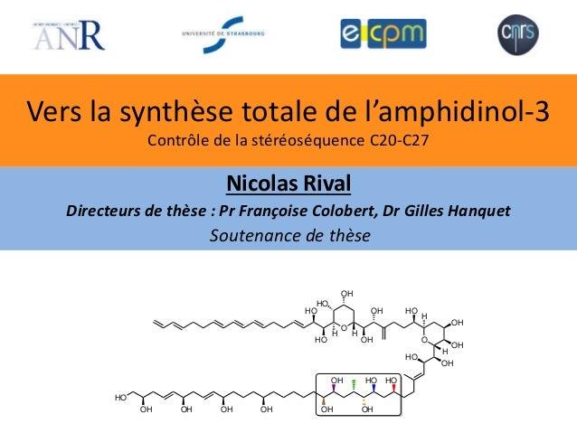 Vers la synthèse totale de l'amphidinol-3 Contrôle de la stéréoséquence C20-C27 Nicolas Rival Directeurs de thèse : Pr Fra...