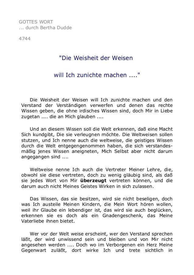 """GOTTES WORT ... durch Bertha Dudde 4744 """"Die Weisheit der Weisen will Ich zunichte machen ...."""" Die Weisheit der Weisen wi..."""