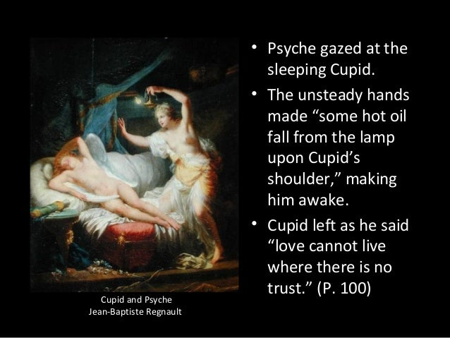 """Cupid and Psyche Jean-Baptiste Regnault • Psyche gazed at the sleeping Cupid. • The unsteady hands made """"some hot oil fall..."""