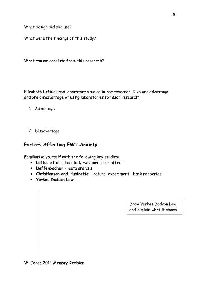 EWT & Anxiety - AS Psychology