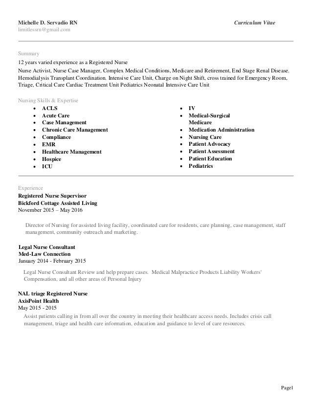 Cool Michelledservadio Rn Li Resume 7 31 16 Download Free Architecture Designs Viewormadebymaigaardcom