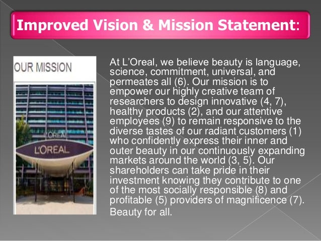 revlon mission and vision Starbucks corporation's (also known as starbucks coffee) mission statement and vision statement represent the company's emphasis on leadership in the coffee industry and the coffeehouse market a company's corporate mission statement is an indicator of what the business does for its target customers.