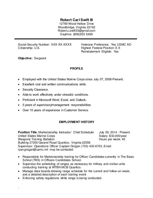 Robert Carl Swift III 12769 Wood Hollow Drive Woodbridge, Virginia 22192  Robert.c ...  Marine Corps Resume