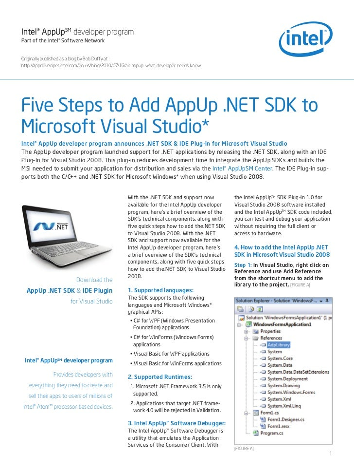 Five Steps to Add AppUp .NET SDK to Microsoft Visual Studio