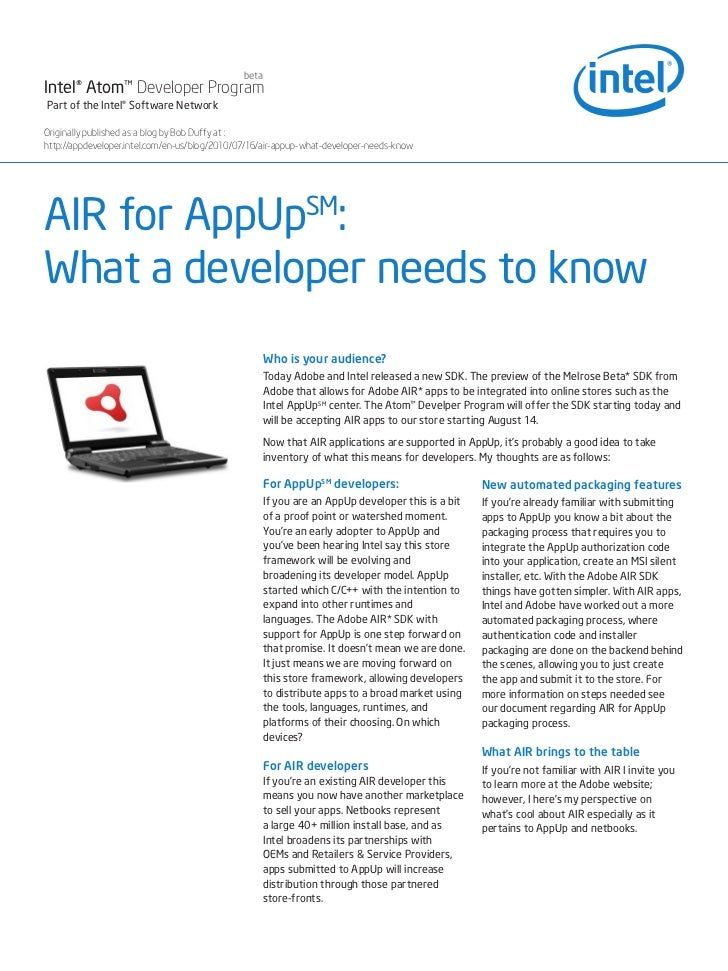 AIR for AppUp: What Developers Need to Know