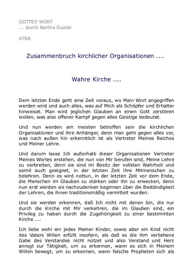 GOTTES WORT ... durch Bertha Dudde 4768 Zusammenbruch kirchlicher Organisationen .... Wahre Kirche .... Dem letzten Ende g...