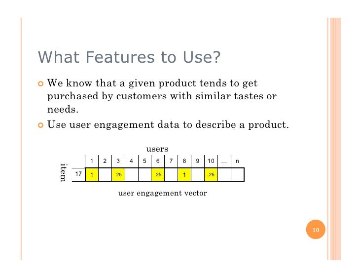 What Features to Use?  We know that a given product tends to get    purchased by customers with similar tastes or    nee...