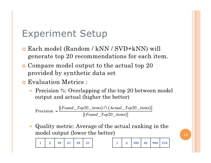 Experiment Setup  Each model (Random / kNN / SVD+kNN) will    generate top 20 recommendations for each item.  Compare ...