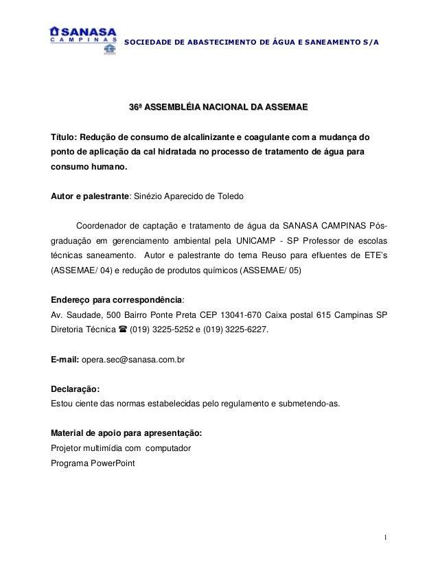 SOCIEDADE DE ABASTECIMENTO DE ÁGUA E SANEAMENTO S/A  36ª ASSEMBLÉIIA NACIIONAL DA ASSEMAE 36ª ASSEMBLÉ A NAC ONAL DA ASSEM...