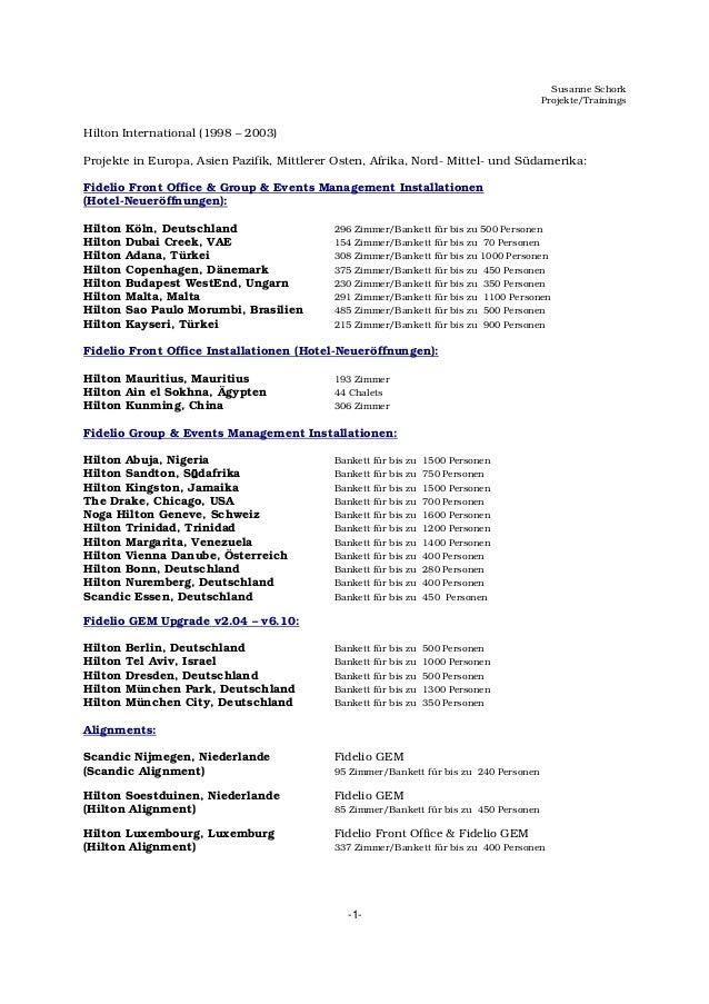 Susanne Schork Projekte/Trainings -1- Hilton International (1998 – 2003) Projekte in Europa, Asien Pazifik, Mittlerer Oste...