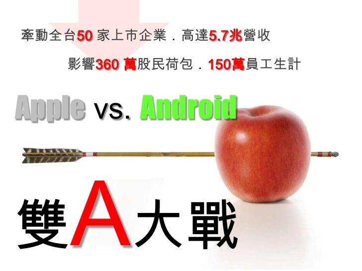 牽動全台50 家上市企業.高達5.7兆營收<br />影響360 萬股民荷包.150萬員工生計<br />Apple vs. Android<br />雙A大戰<br />