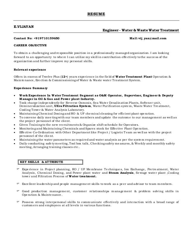 water treatment plant resume