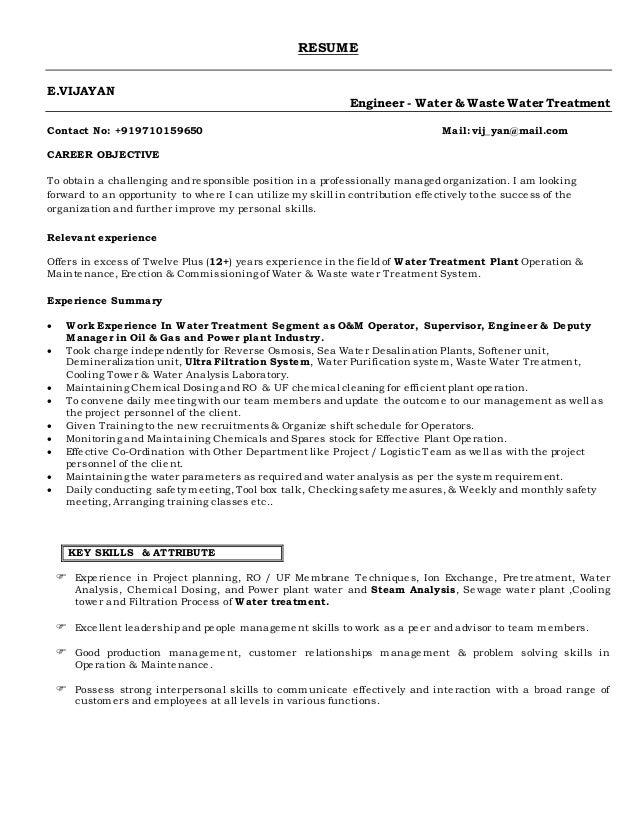 water resume