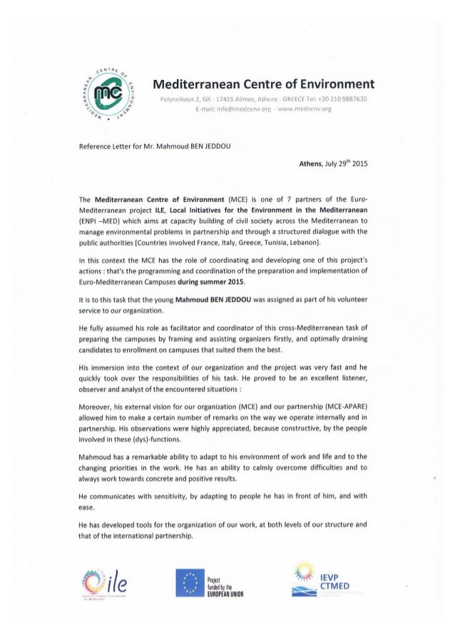 Reference Letter – MCE