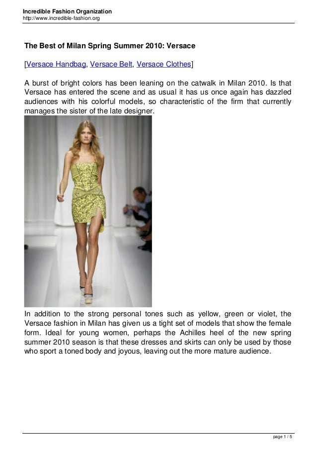Incredible Fashion Organization http://www.incredible-fashion.org The Best of Milan Spring Summer 2010: Versace [Versace H...