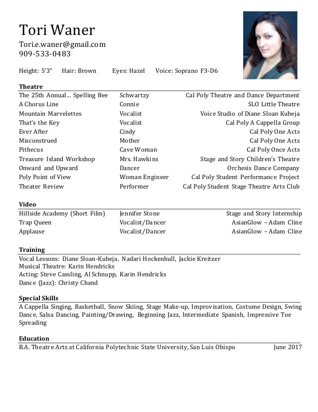 Tori Waner Acting Resume