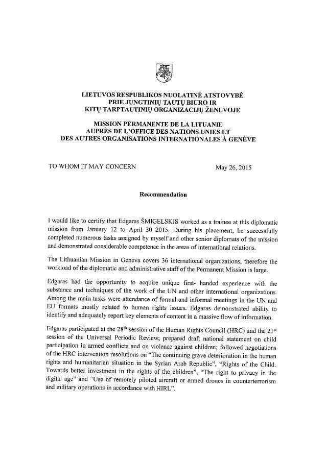 Letter Permanent Mission Of Lithuania